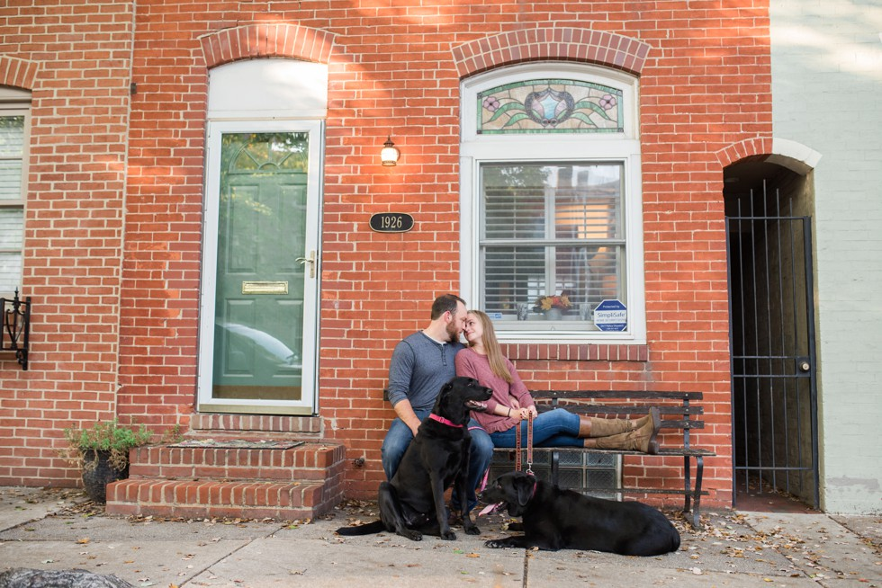 Sunset engagement photos in Fells Point Baltimore at new home