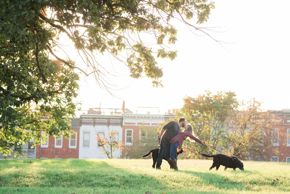 Patterson Park Pagoda Engagement photos with two black labs