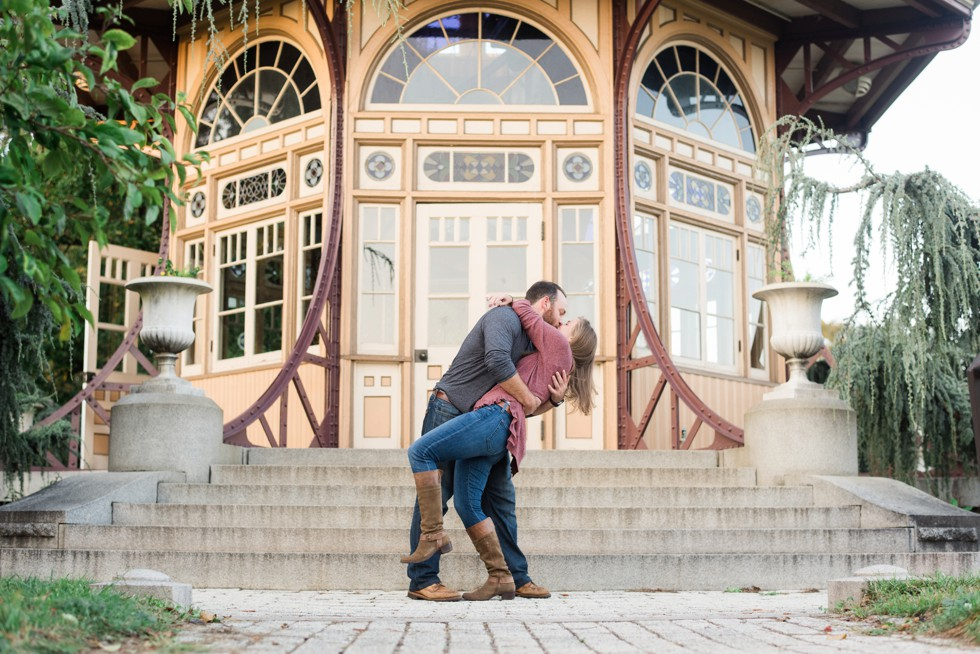 Engagement photos at Patterson Park Pagoda in the fall