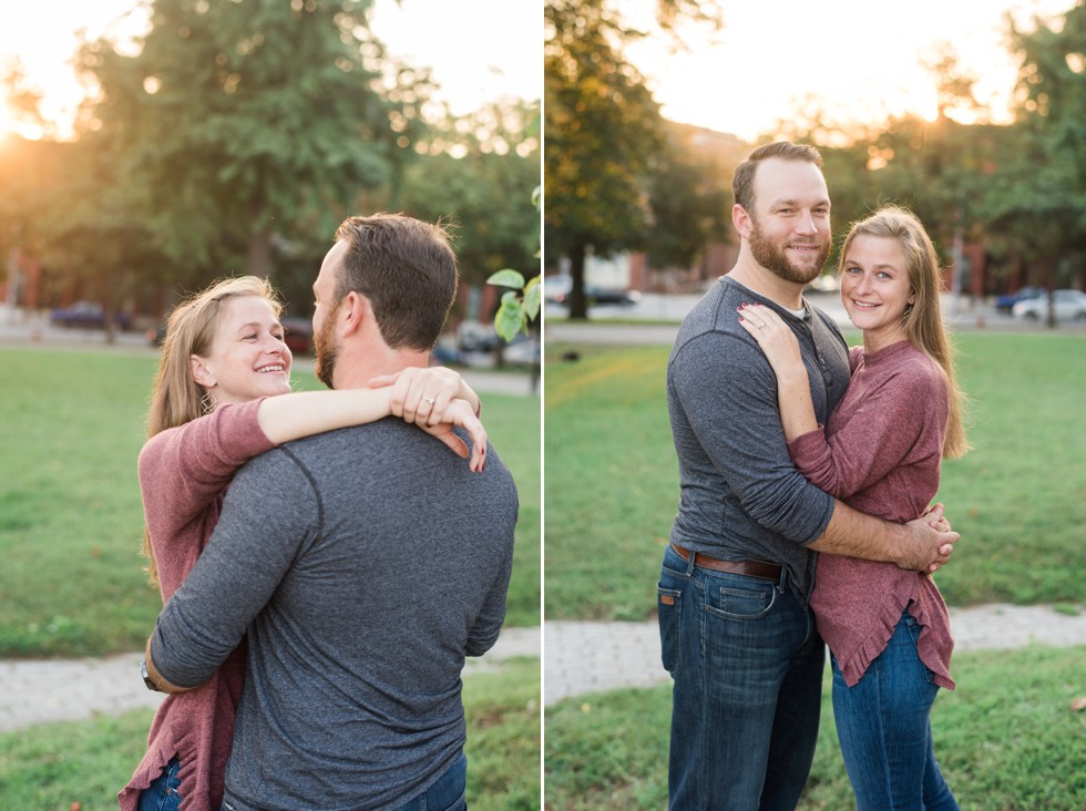 Engagement Photos in Patterson Park during the fall