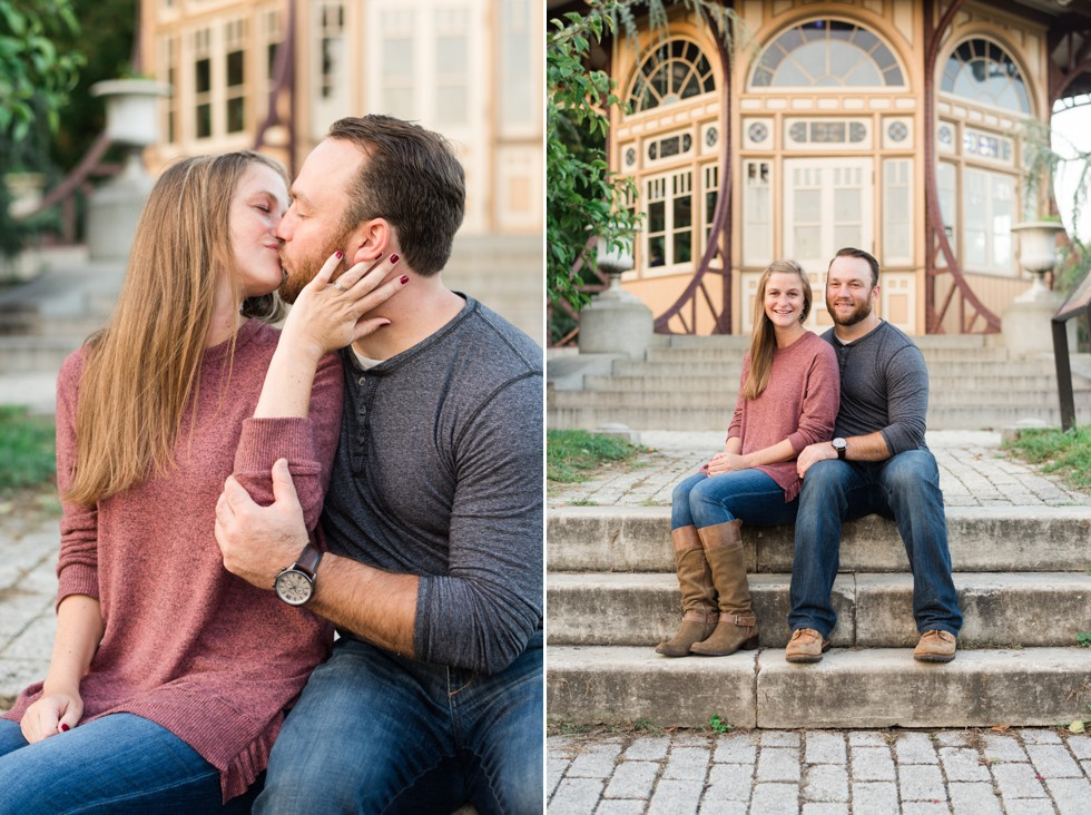 Engagement Photos in Patterson Park during the fall sunset