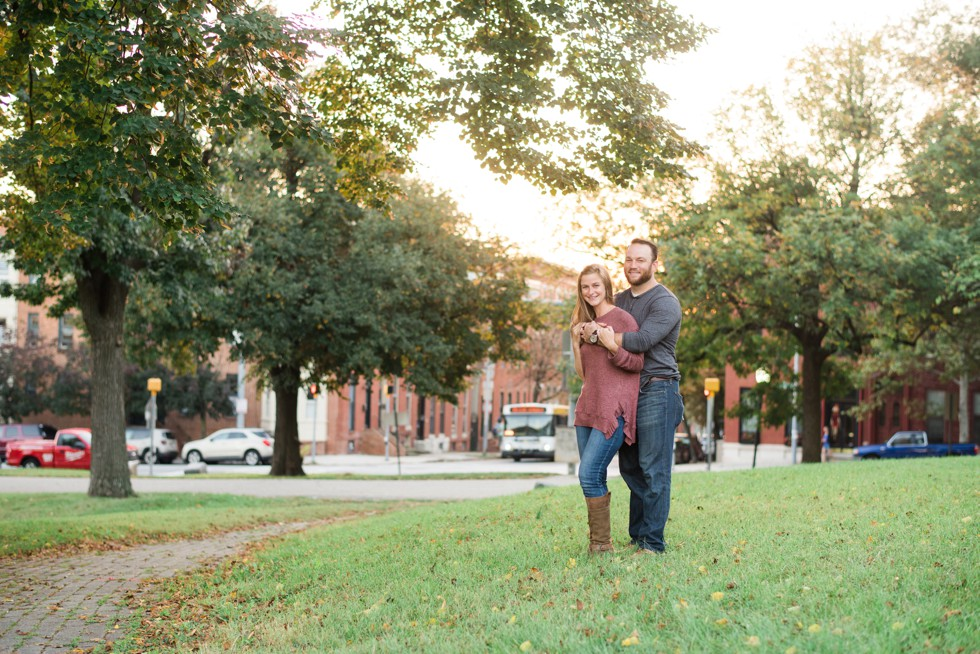 Sunset engagement photos in Fells Point Baltimore