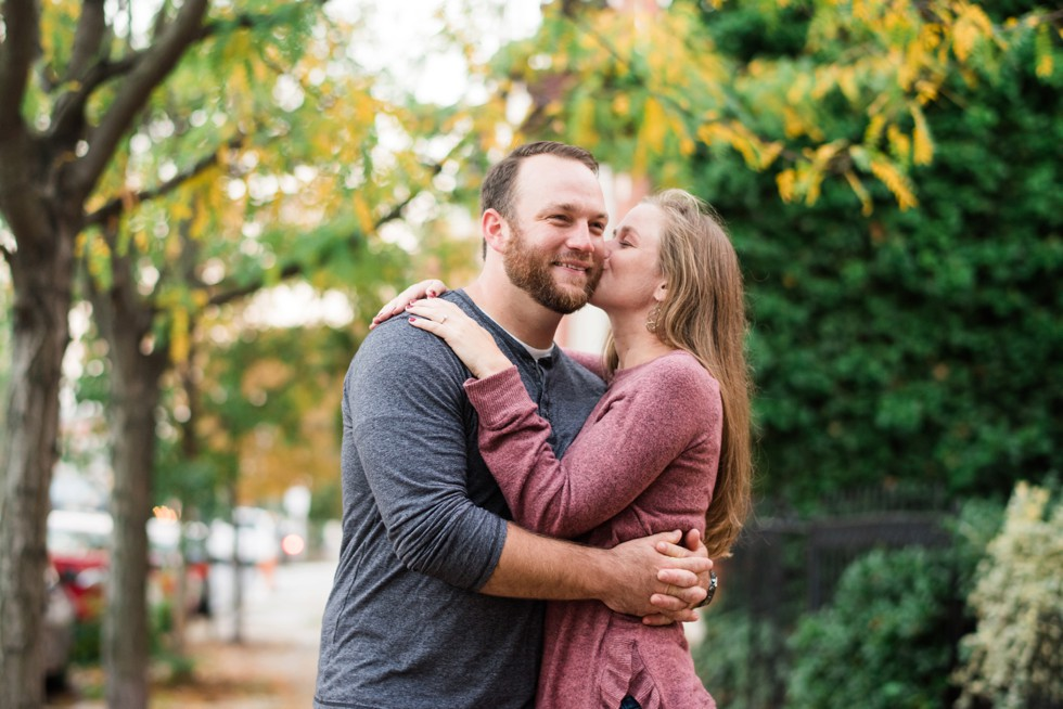 Sunset engagement photos in Patterson Park Baltimore