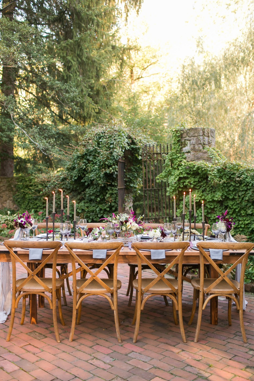 Outdoor wedding reception at Holly Hedge Estate in New Hope PA designed by Arielle Fera Events