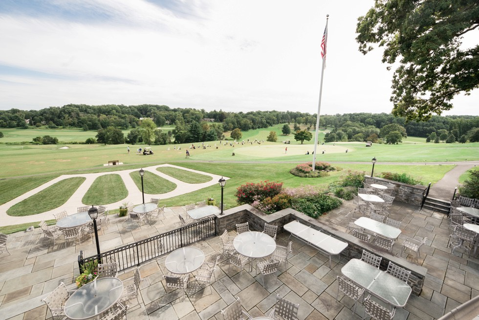 outside terrace reception at Huntingdon Valley Country Club