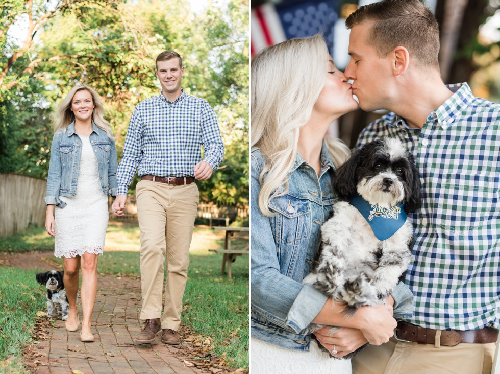 Annapolis engagement photo with black and white dog