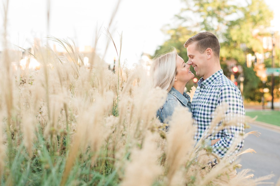 engagement photos at sunset in the tall grasses