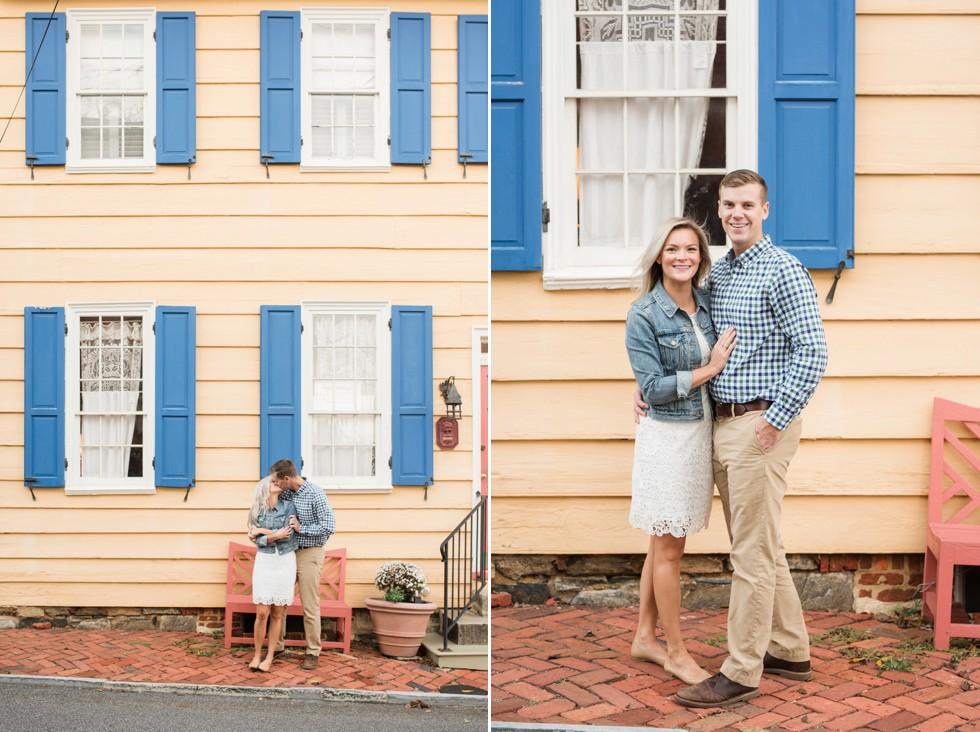 fall engagement photos on Cornhill Street annapolis