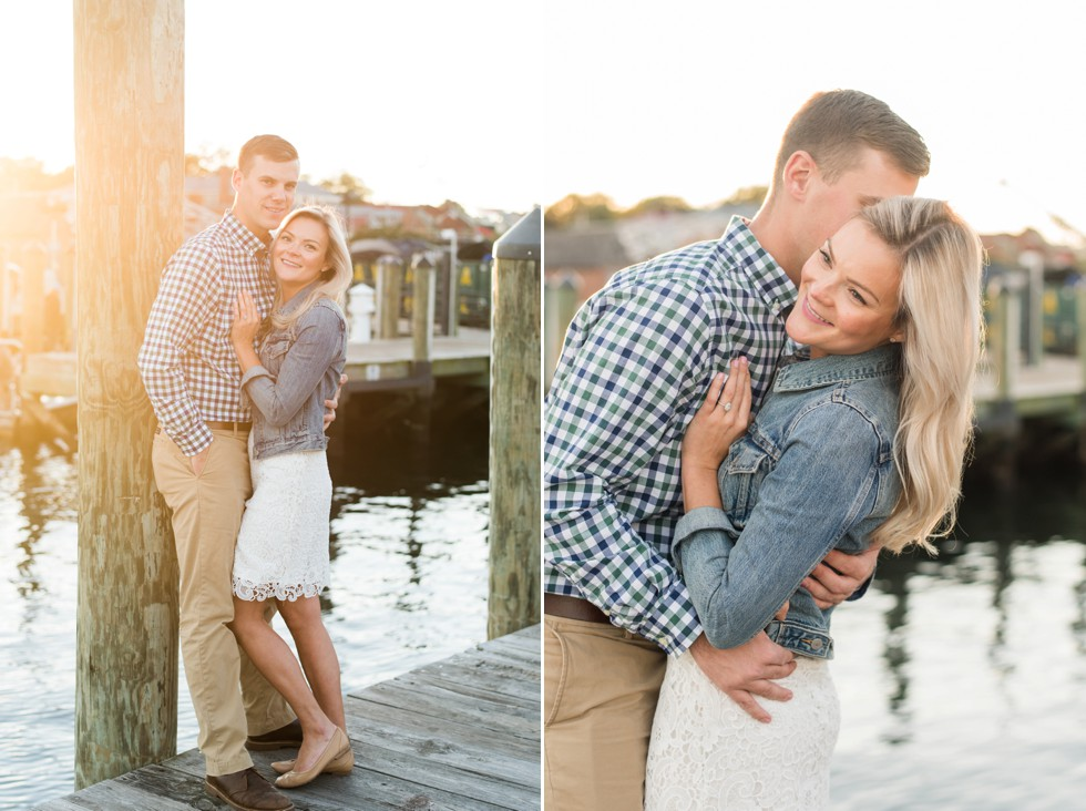 fall sunset engagement session on the docks of Annapolis