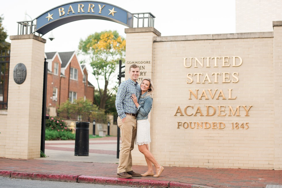 United States naval Academy engagement photo at Gate 1