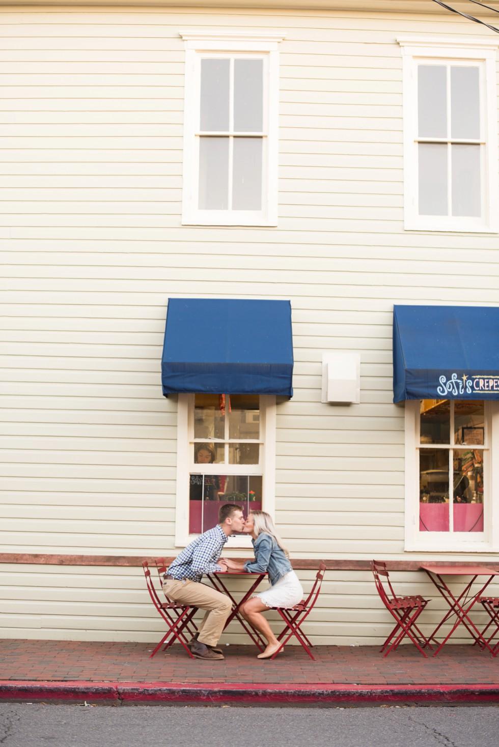 Annapolis engagement photos at Sofi's Crepes