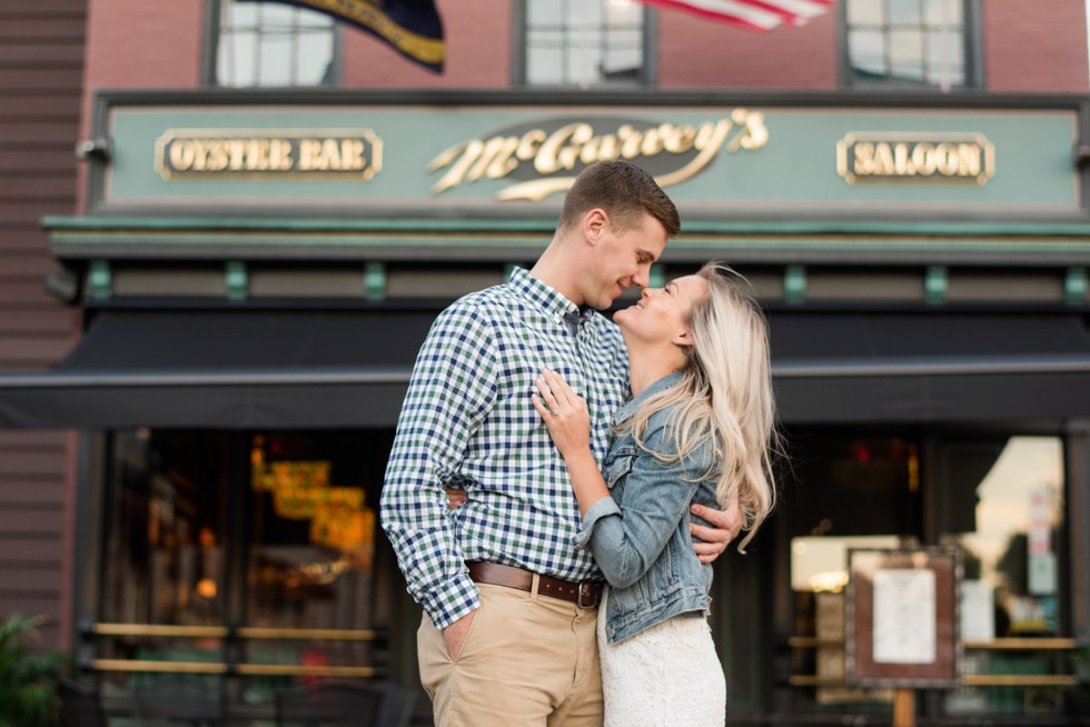 Annapolis engagement photos at McGarvey's Oyster Bar