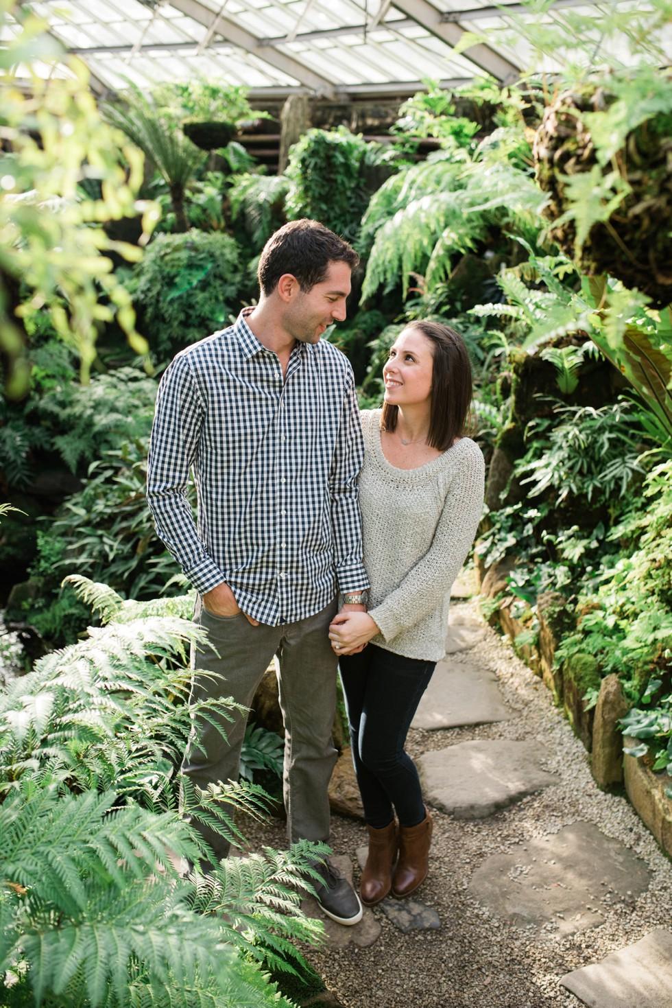 engagement photos in Greenhouse at Morris Arboretum
