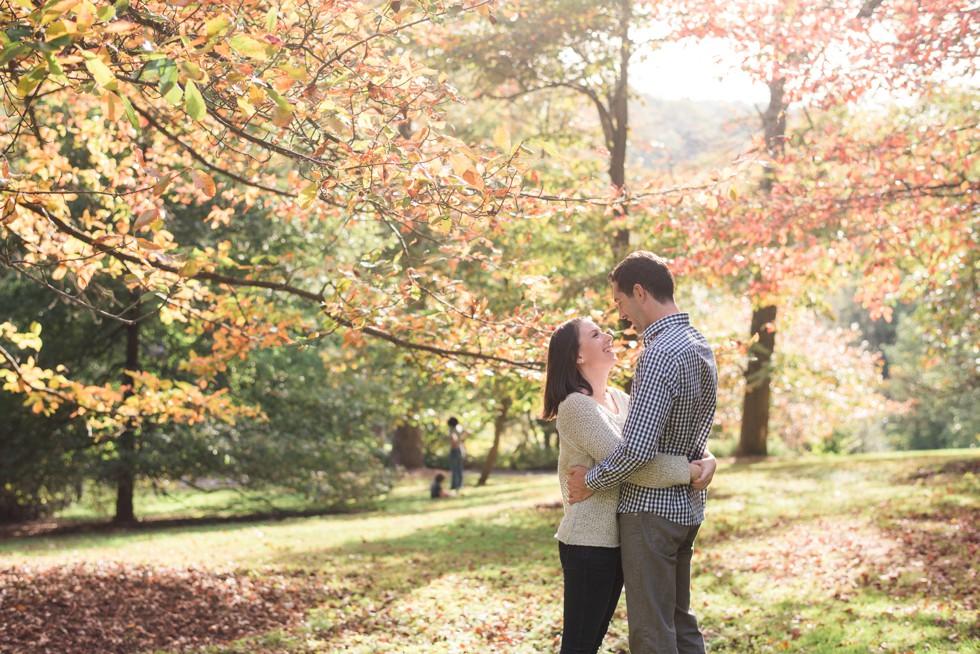 engagement photos during that fall at Morris Arboretum