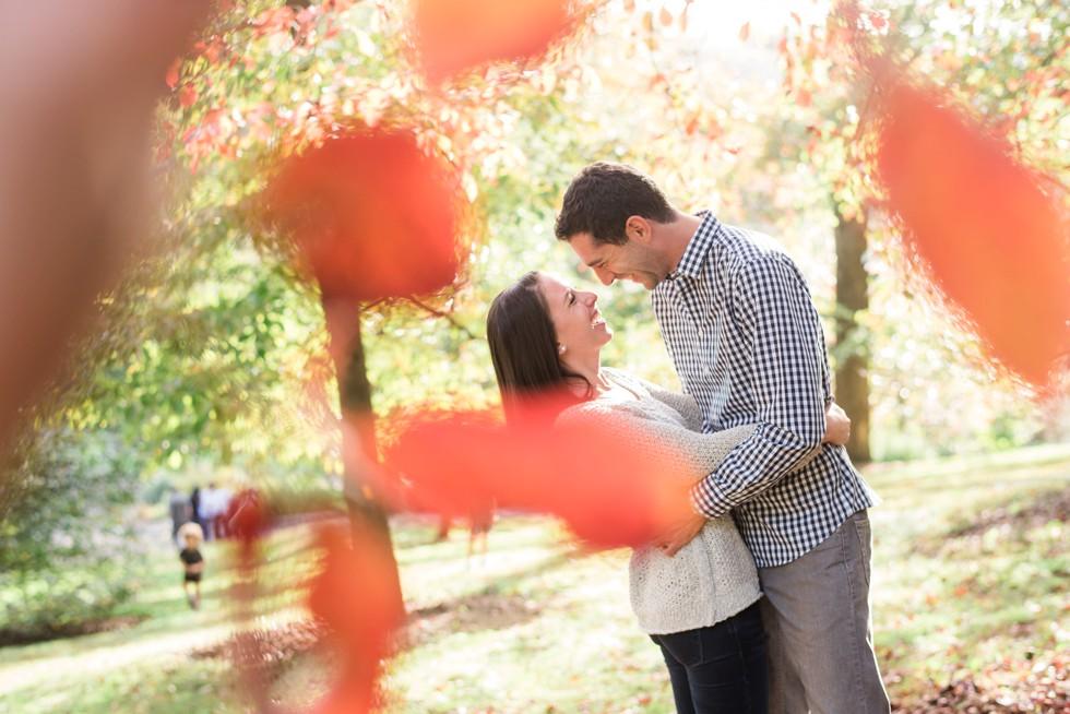 orange fall leaves in Morris Arboretum