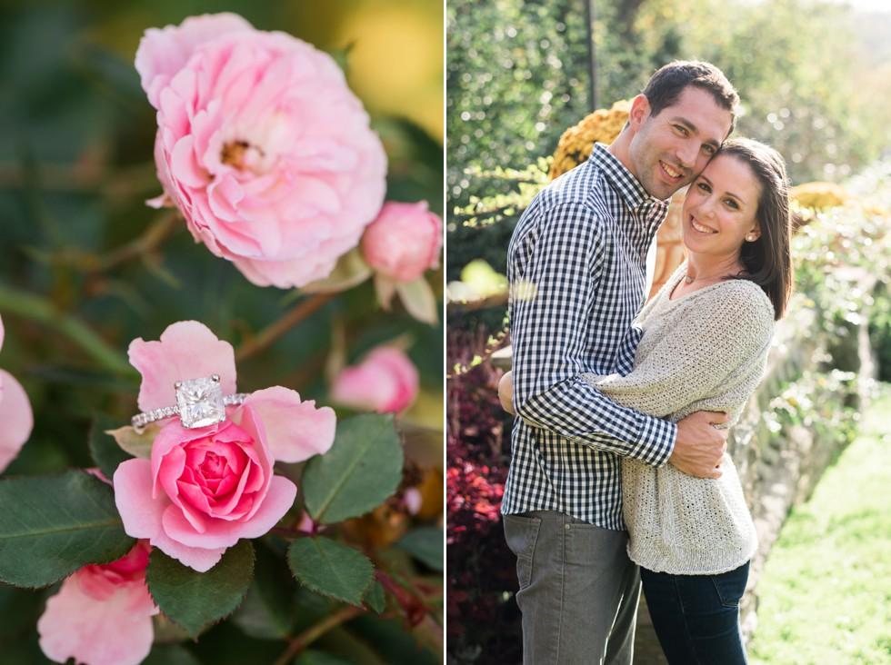 fall engagement photos at Morris Arboretum Rose Garden