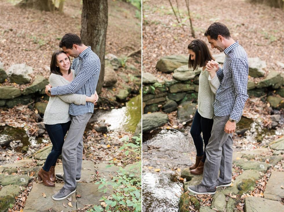 Wissahickon Creek engagement photos at Morris Arboretum