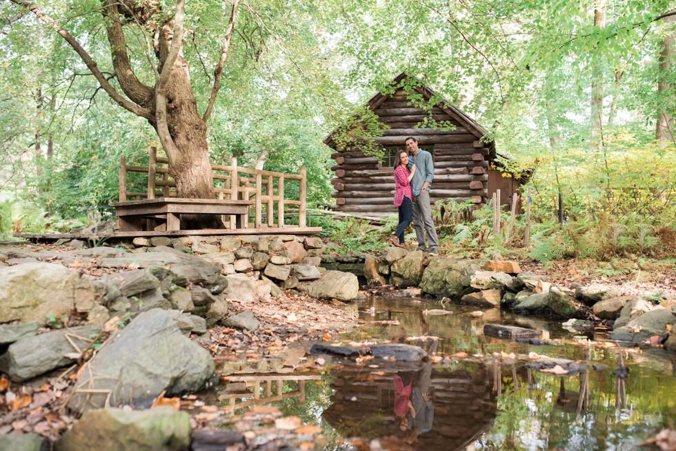 Log cabin at Morris Arboretum engagement photos