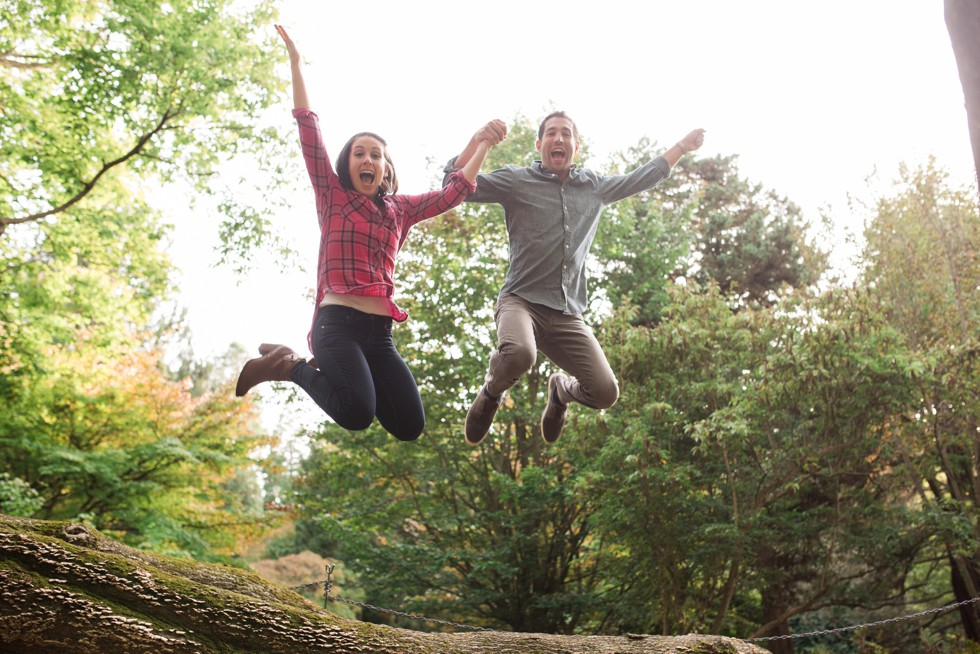 Jumping photo in English park at Morris Arboretum