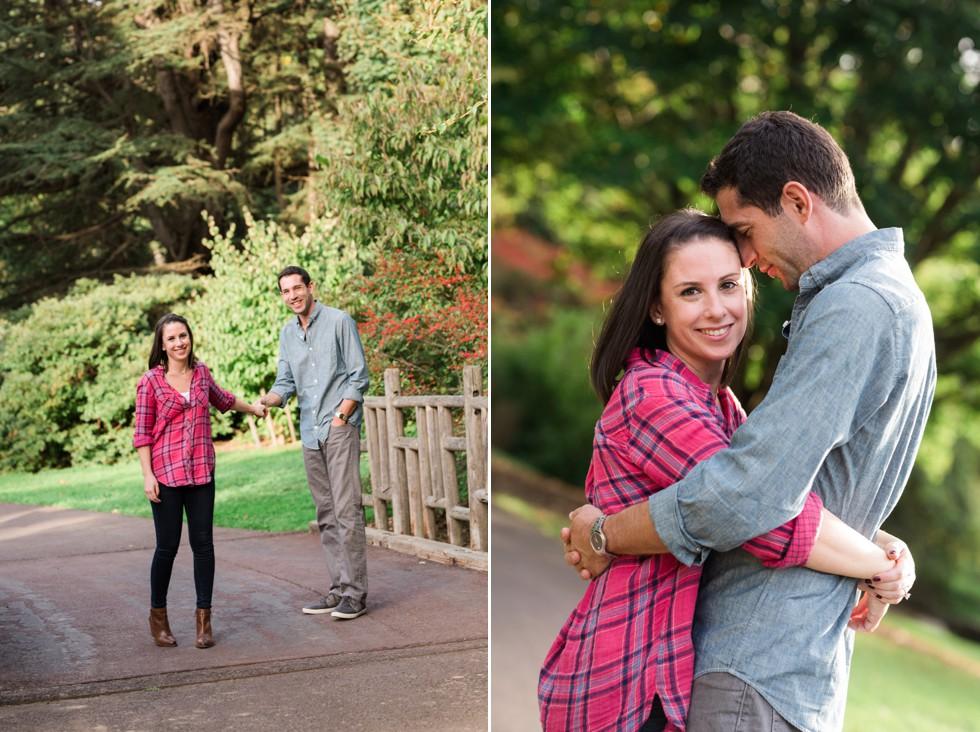 engagement photos in Morris Arboretum of the University of Pennsylvania