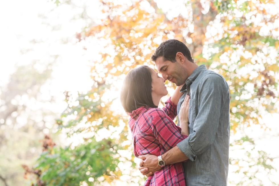 fall engagement photos at Morris Arboretum of the University of Pennsylvania