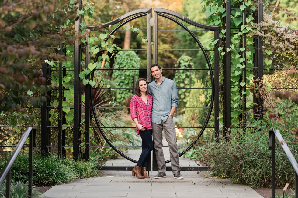engagement photos at Pennock Flower Walk in Morris Arboretum