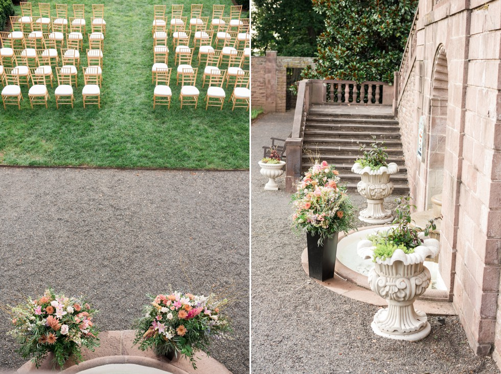 ceremony setup with flowers at Tyler Gardens