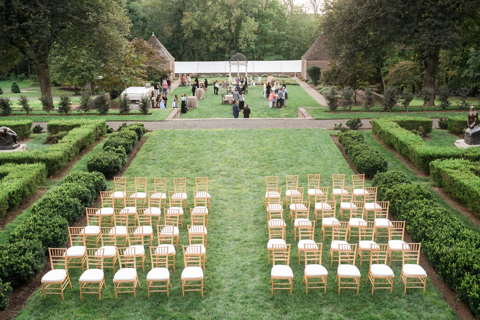 outdoor ceremony on the lawn of Tyler Gardens