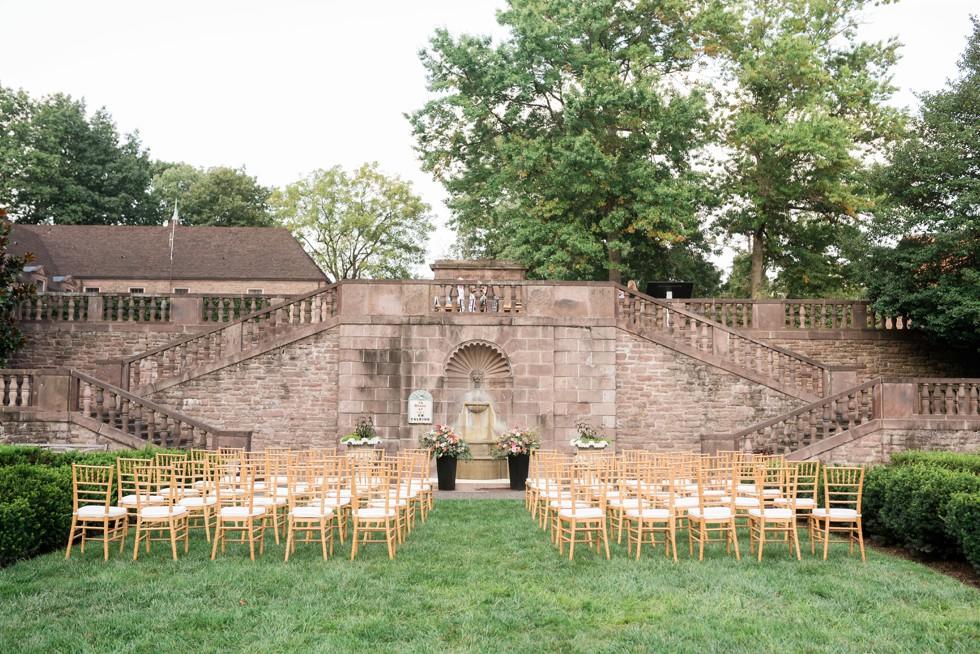 outdoor wedding ceremony setup at Tyler Gardens