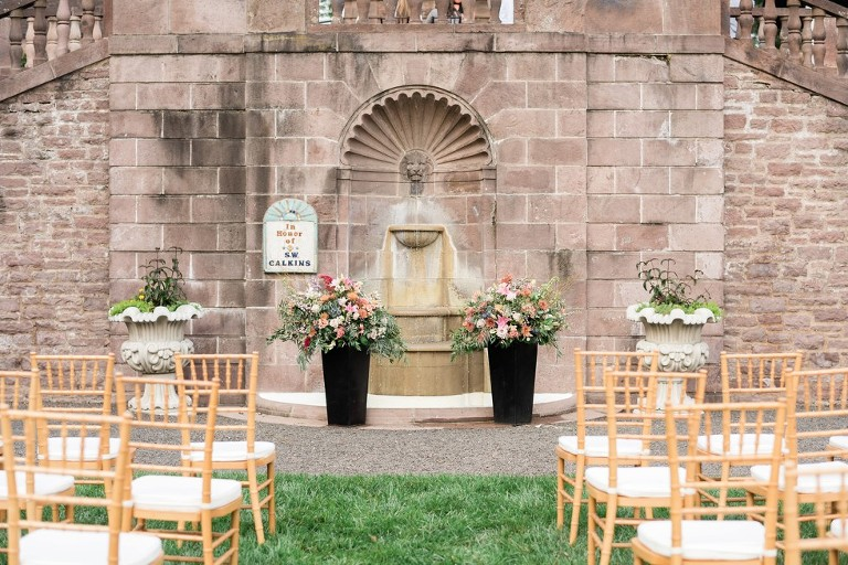 outdoor wedding ceremony setup at Tyler Gardens
