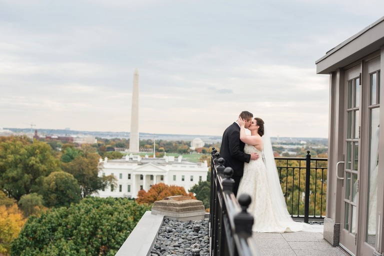 Hay Adams hotel view of the White House with bride and groom coordinated by Lauryn Prattes Events