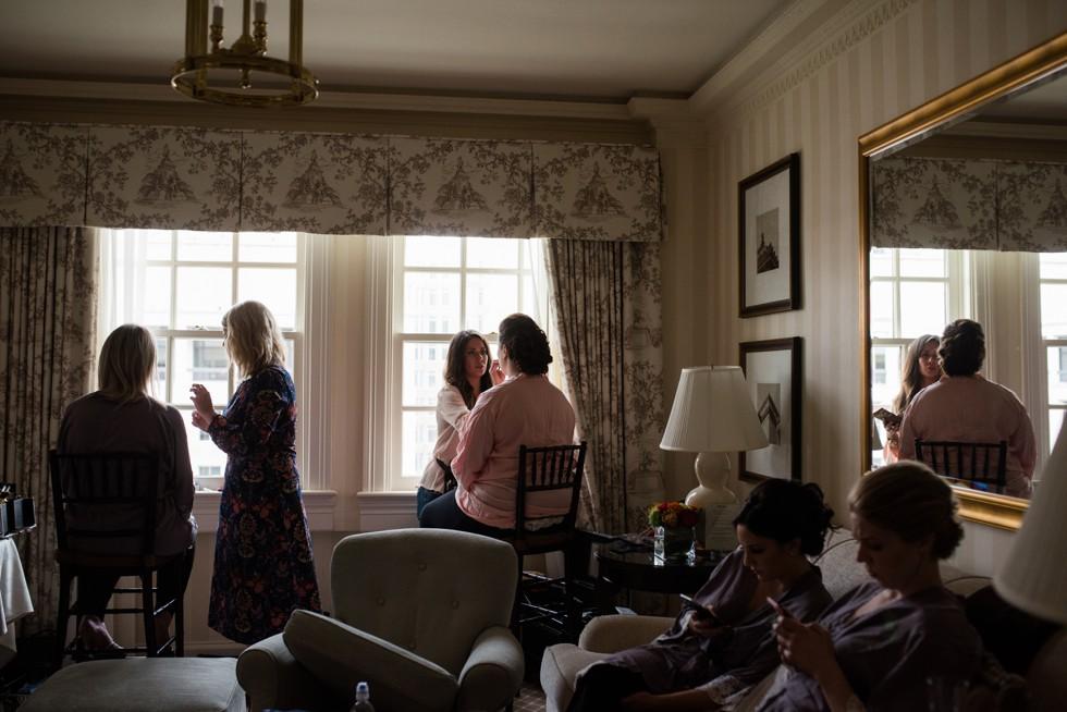Hay Adams bridal prep in 7th floor suite
