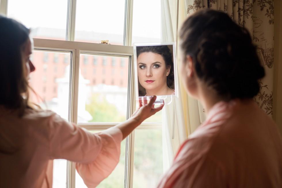 brides reflection at the Hay Adams Hotel DC
