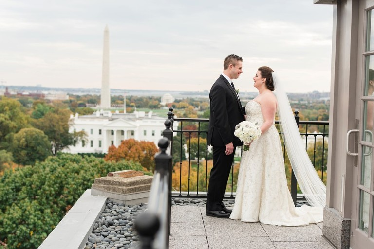 Wedding Photos With Whitehouse In The Background At Hay Adams Hotel Dc