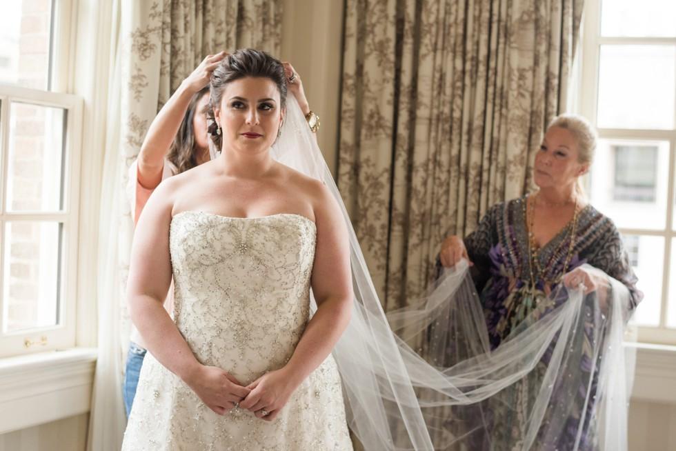 brides veil at Hay Adams Hotel DC
