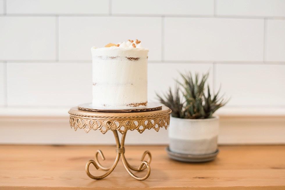 white wedding cake in bakery