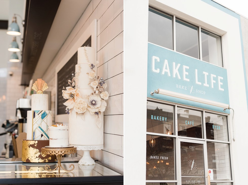 wedding cakes on display at Cake Life Bake Shop
