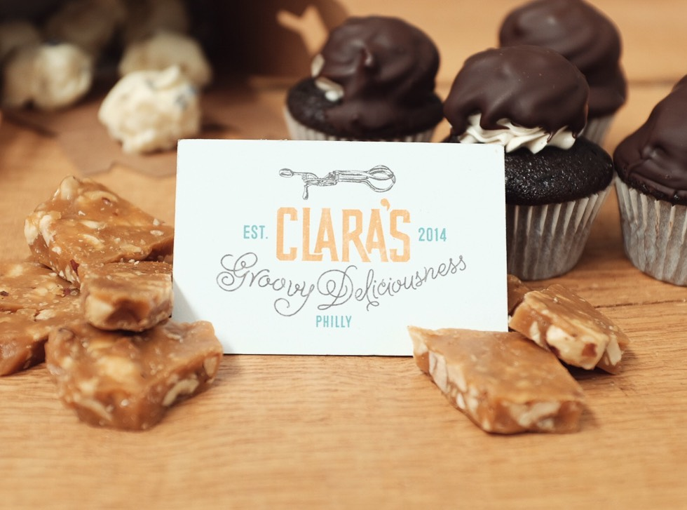 Clara's Groovy Deliciousness Bakery business card