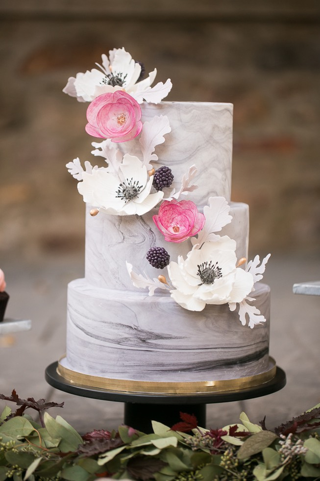 3 tier wedding cake with flower details