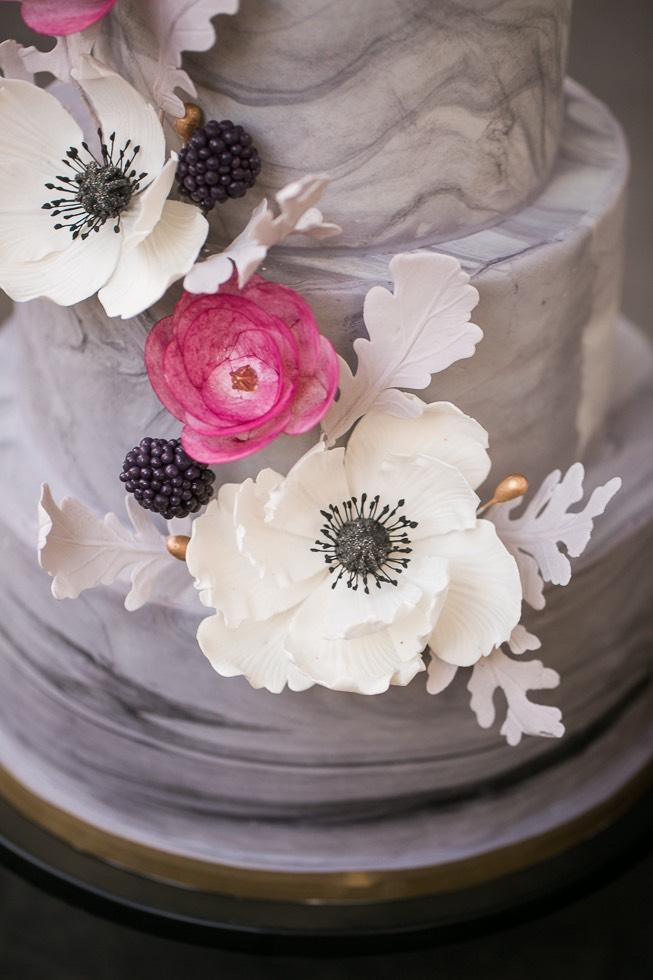 wedding cake handpainted flower details