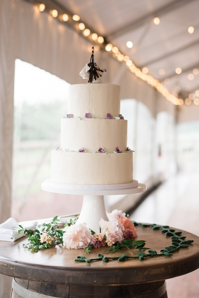 wedding cake at reception on stand