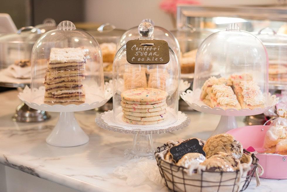display of wedding cakes in Philadelphia bakery