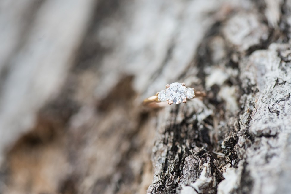 three diamond engagement ring rose gold