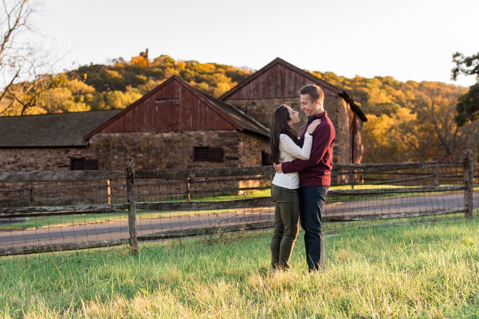 Fall engagement at Thompson-Neely House in Washington Crossing Historic Park