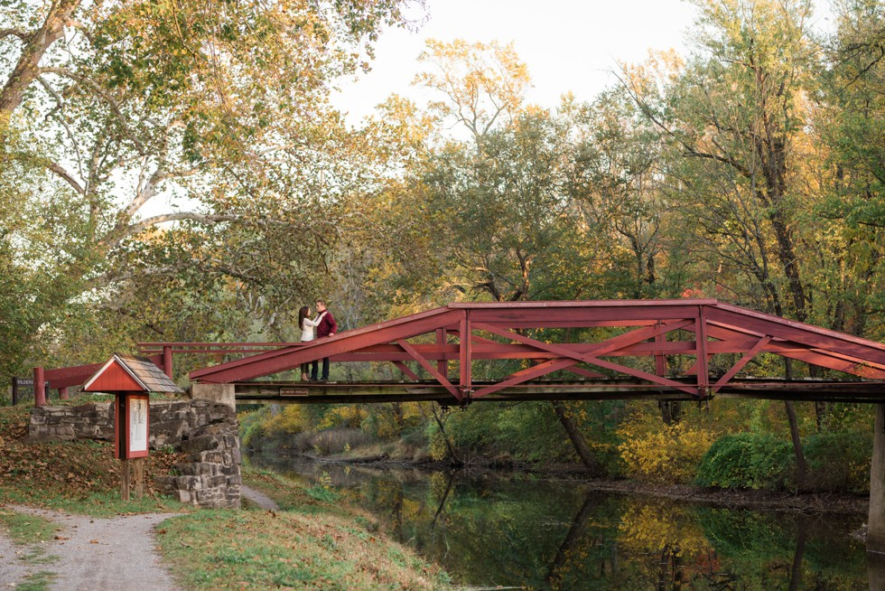 Autumn red bridge Washington Crossing Historic Park