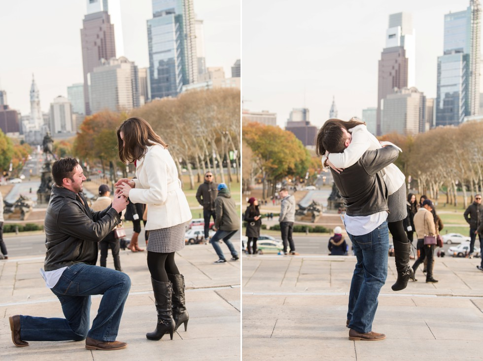 Fall weather Surprise proposal photos in Philadelphia
