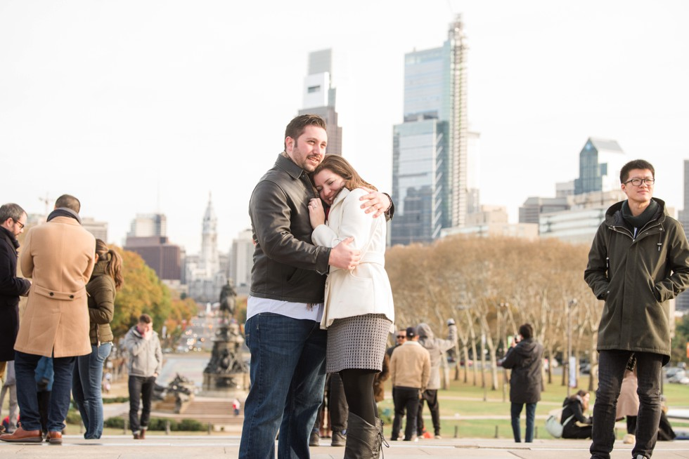 Philadelphia skyline surprise proposal
