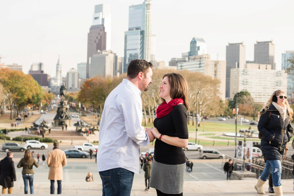 Surprise proposal photos at Philadelphia Museum of Art