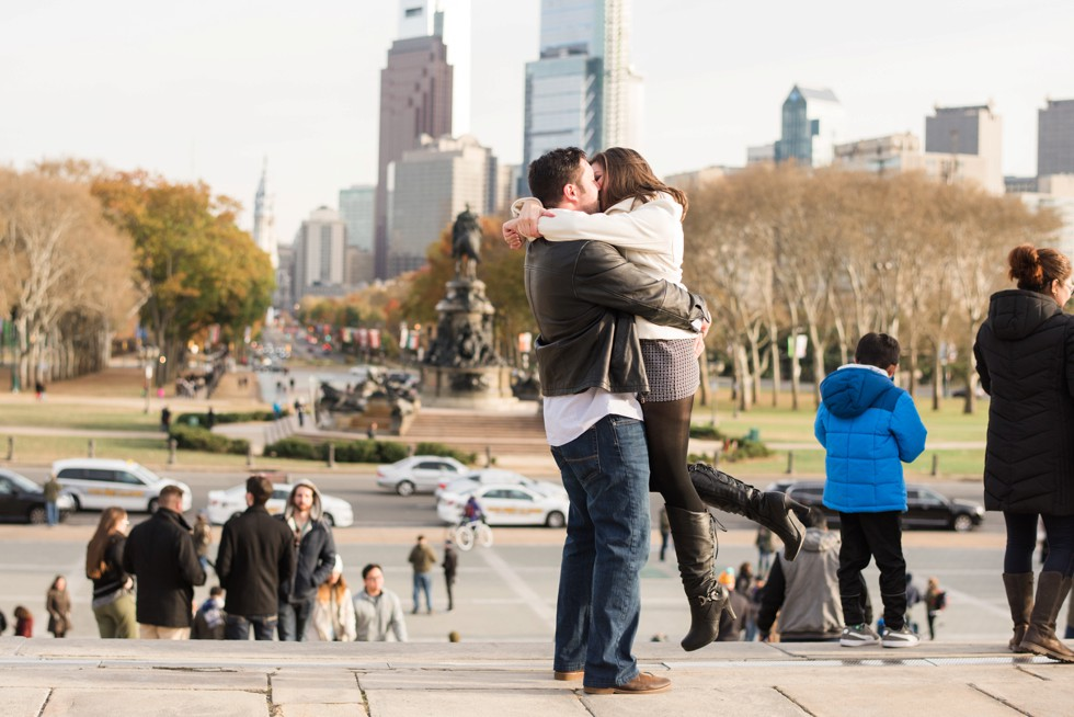 surprise engagement at rocky steps