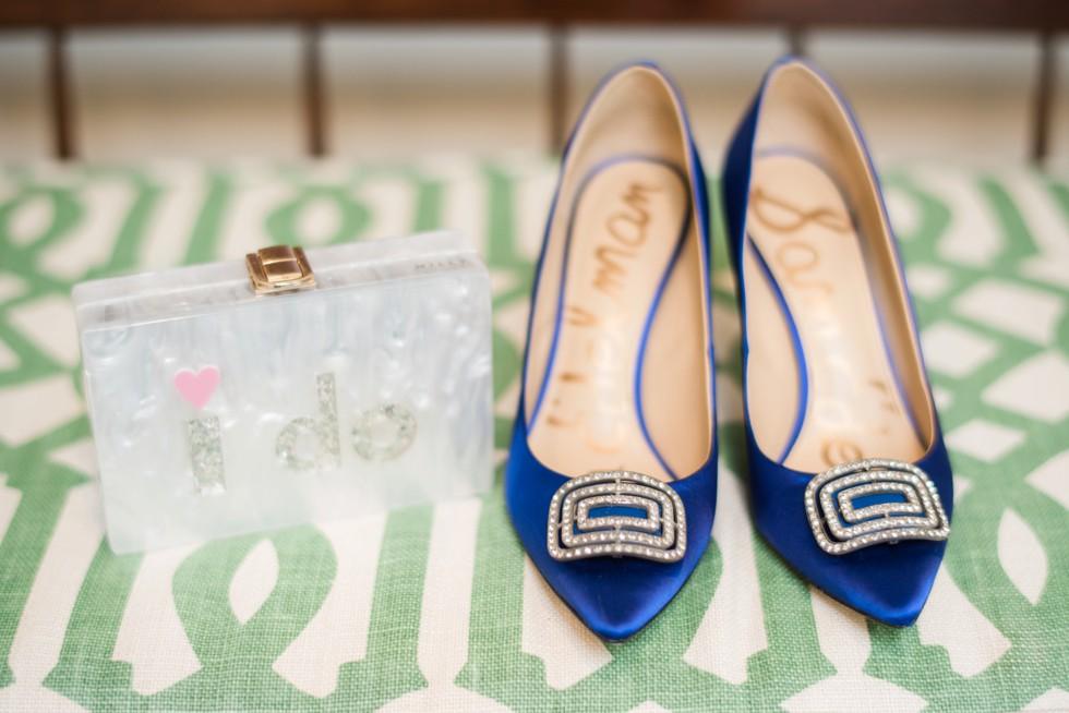 Sam Edelman blue bridal shoe with I Do clutch